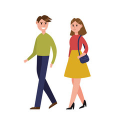 young couple walking together cartoon characters vector image vector image