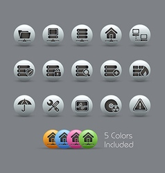 Network Server Icons Pearly Series vector image