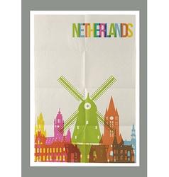 Travel Netherlands landmarks vintage paper poster vector image