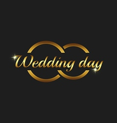 Wedding day greeting card mockup couple gold rings vector image