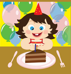 A child with cake vector