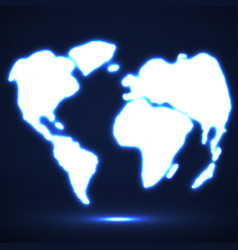 Abstract glowing world map vector