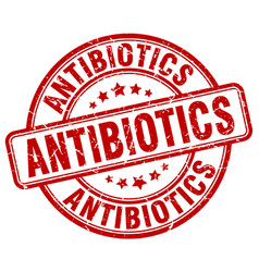 Antibiotics red grunge stamp vector