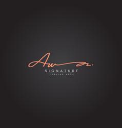 Aw initial letter logo handwritten signature logo vector