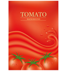 Background with splashes waves of tomato juice vector