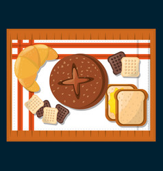 Bakery products breads croissant over table vector