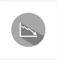 Bankruptcy chart icon with shade on grey button vector