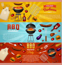 barbecue grill elements set isolated on red vector image