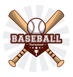 Baseball sport tournament bats ball sticker image vector