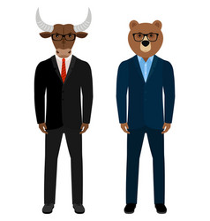 Bear and bull businessmen traders vector