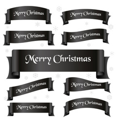 Black shiny color merry christmas slogan curved vector