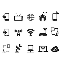 black telecom icons set vector image