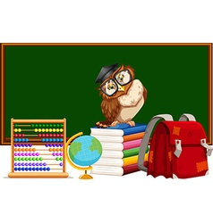 Blackboard and many educational materials vector image