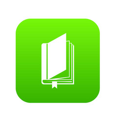 book with bookmark icon digital green vector image