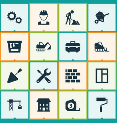 Building icons set collection of home equipment vector