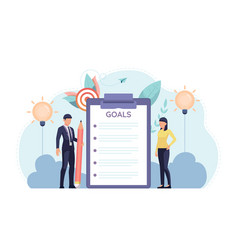 Businessman and businesswoman standing with goal vector