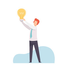 businessman holding bright glowing light bulb in vector image