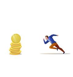 businessman running forward money coin stack vector image