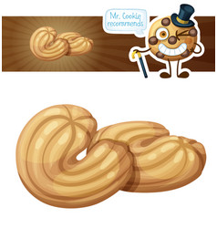 Butter cookie cartoon icon vector