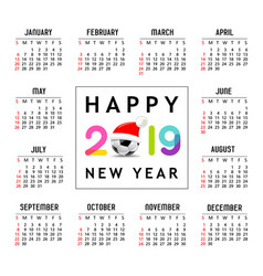 calendar new year 2019 santa hat on soccer ball vector image