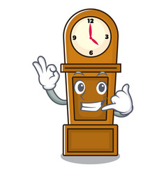 Call me grandfather clock mascot cartoon vector