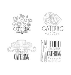 Catering and food delivery service logos in sketch vector