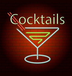 cocktails logo neon light icon realistic style vector image