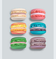 Colorful macaroons set realistic 3d vector