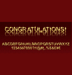 Congratulations gold alphabetic fonts vector