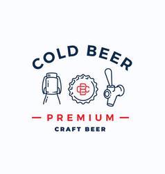 craft cold beer abstract beer sign emblem vector image