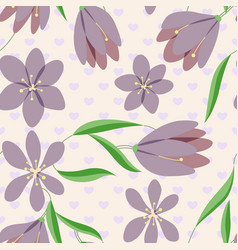 crocuses vintage pattern on hearts vector image