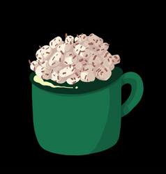 cup of hot chocolate with marshmallows vector image