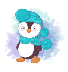 Cute cartoon penguin boy in a hat and scarf vector