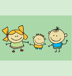 Cute children waving hand boy and girl vector