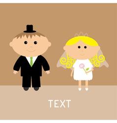 cute wedding couple groom and bride card vector image