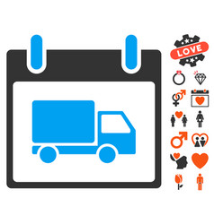 Delivery car calendar day icon with lovely bonus vector