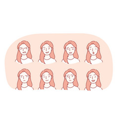 different emotions and variety facial vector image