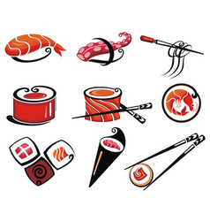 different sushi vector image