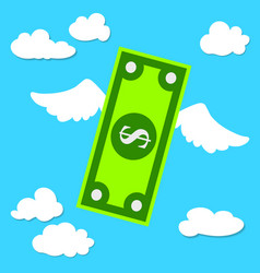 Dollar with wings flies through sky the vector