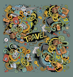 doodle cartoon set of travel theme items vector image