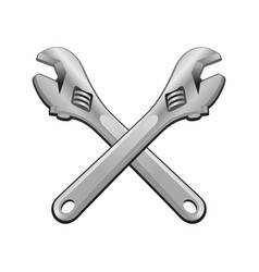 Double adjustable wrench cross object vector