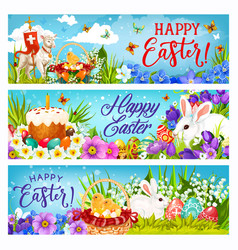 easter bunnies with eggs flowers and chicks vector image