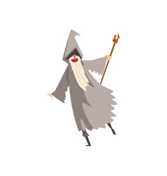 Elderly male sorcerer with magic staff bearded vector