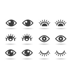 eyes and eyelashs icons vector image