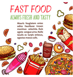 fast food restaurant snack and drink menu poster vector image