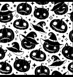 festive halloween pattern with smiling different vector image