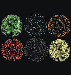 firework set on night background anniversary vector image