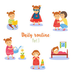 Flat cartoon kid doing routine activity set vector