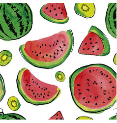 Fruit watercolor pattern vector