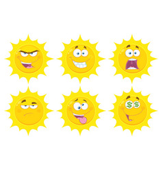 funny yellow sun character collection - 3 vector image